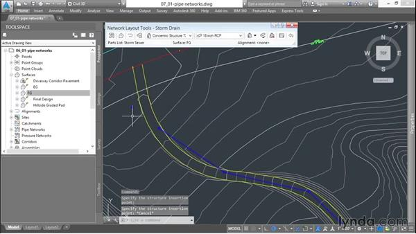 Creating pipe networks: Up and Running with Civil 3D