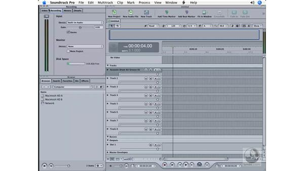 Learning the interface: Soundtrack Pro Essential Training