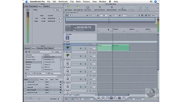 Cross fading clips: Soundtrack Pro Essential Training