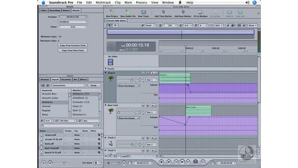 Keyframes and envelopes: Soundtrack Pro Essential Training