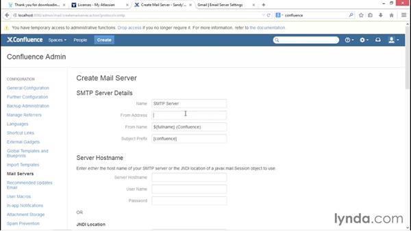 Configuring mail: Installing and Administering Atlassian Confluence