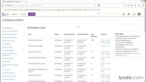 Scheduling administrative jobs: Installing and Administering Atlassian Confluence