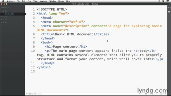 Exploring an HTML document: HTML Essential Training