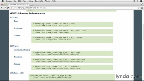DOCTYPE declarations: HTML Essential Training