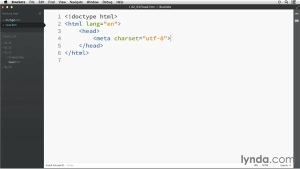 The document head: HTML Essential Training