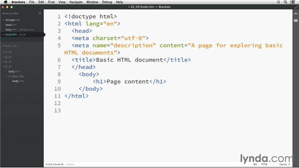 The document body: HTML Essential Training
