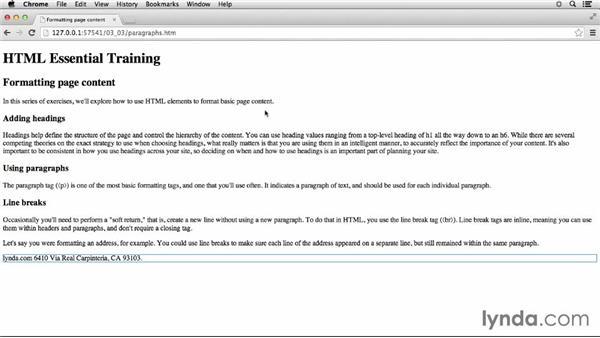 Formatting paragraphs: HTML Essential Training