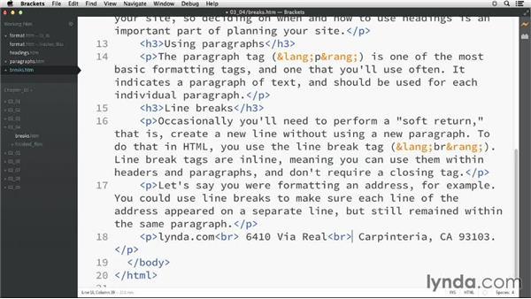 Controlling line breaks: HTML Essential Training