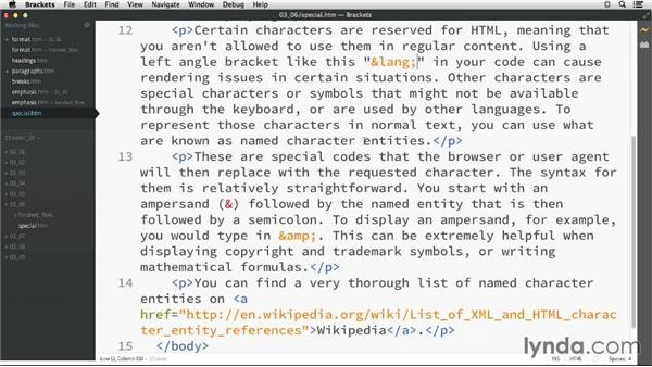 Displaying special characters: HTML Essential Training