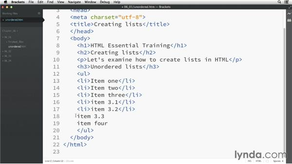 Unordered lists: HTML Essential Training