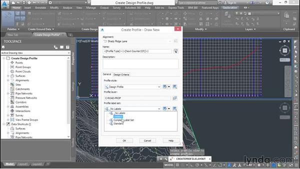 Creating a design profile: Basic Roadway Design with Civil 3D
