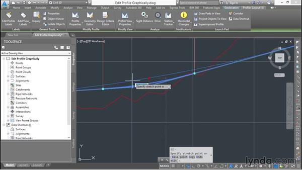 Editing a design profile graphically: Basic Roadway Design with Civil 3D