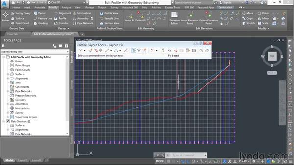 Editing a design profile using the Geometry Editor: Basic Roadway Design with Civil 3D