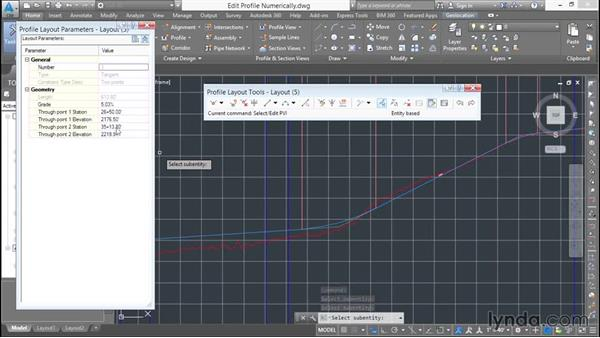 Editing a design profile numerically: Basic Roadway Design with Civil 3D