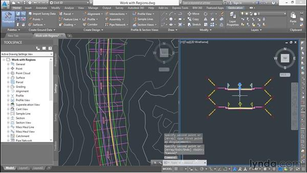Working with regions: Basic Roadway Design with Civil 3D