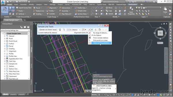 Creating sample lines: Basic Roadway Design with Civil 3D