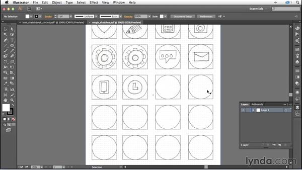 Importing your sketches into Illustrator: Creating Icons with Illustrator