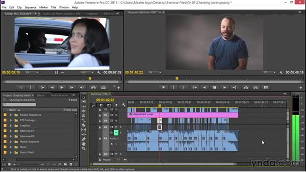 Checking levels: EPK Editing Workflows 04: Audio Cleanup and Special Effects