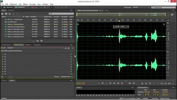 Using the audio Effects Rack: EPK Editing Workflows 04: Audio Cleanup and Special Effects