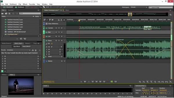 Adjusting audio levels over time, with envelopes: EPK Editing Workflows 04: Audio Cleanup and Special Effects