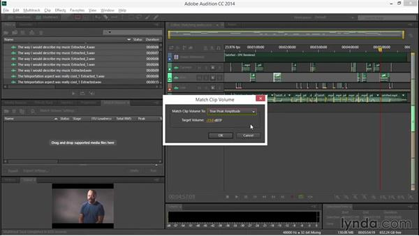 Matching audio level between recordings: EPK Editing Workflows 04: Audio Cleanup and Special Effects