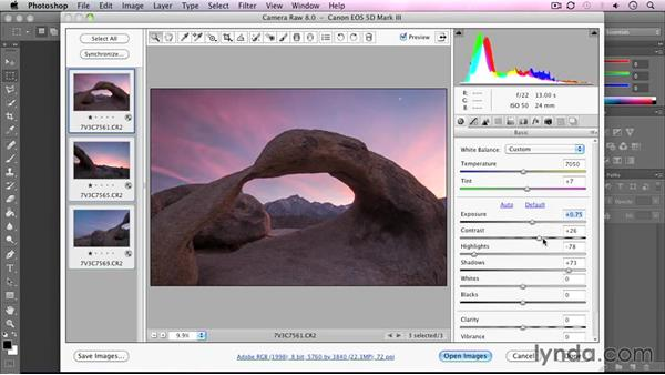 Developing the shot in Camera Raw: Landscape Photography: California's Mobius Arch
