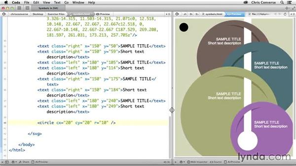Adding a circle element to an SVG graphic: Design the Web: Using Symbols in SVG