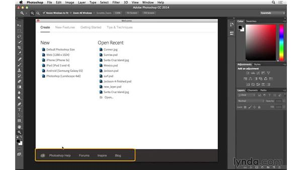 Welcome screen (CC 2014.1): Photoshop for Photographers: 2014 Creative Cloud Updates