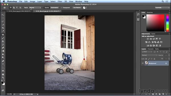 Removing unwanted details with Content-Aware Fill and Patch (CC 2014.1): Photoshop CC Essential Training (2013)