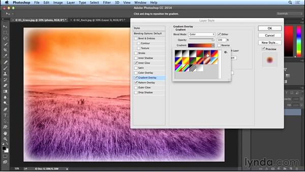 Adding edges, textures, and color overlays using styles (CC 2014.1): Photoshop CC Essential Training (2013)