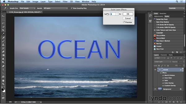 Knowing how and when to scale layer effects (CC 2014.1): Photoshop CC Essential Training (2013)