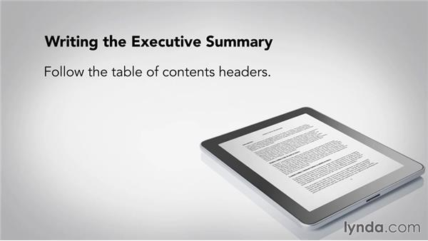 Writing the executive summary – One Page Executive Summary Template