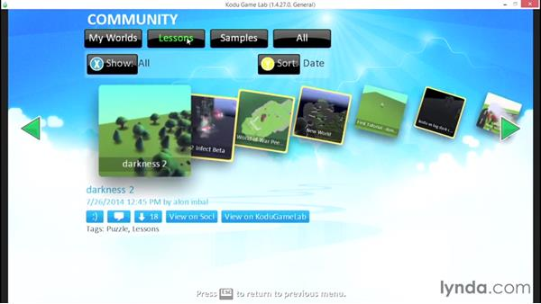Working with the Kodu community: Learning Visual Programming with Kodu