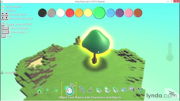 Adding and changing basic object properties: Learning Visual Programming with Kodu