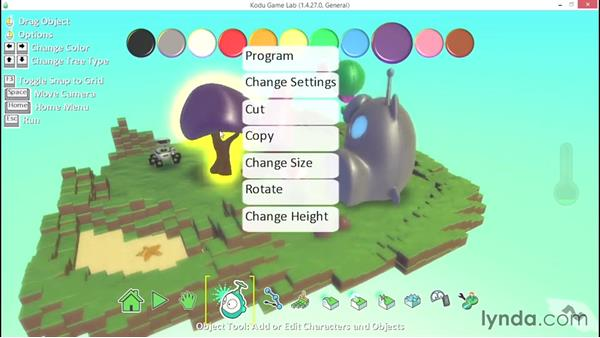 Advanced object information: Learning Visual Programming with Kodu