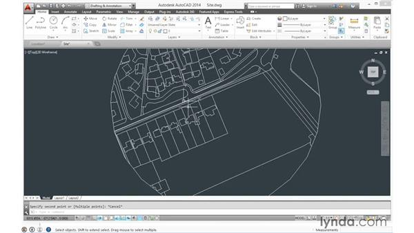 Importing the CAD site plan (SketchUp Pro): SketchUp for Architecture: Fundamentals