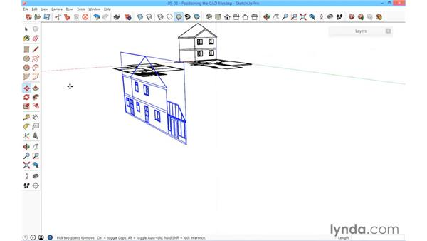 Positioning the CAD files: SketchUp for Architecture: Fundamentals