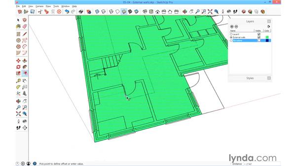 Building the external walls: SketchUp for Architecture: Fundamentals