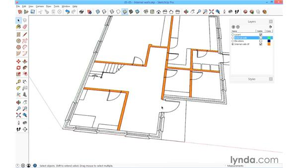 Building the internal walls: SketchUp for Architecture: Fundamentals