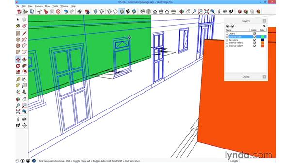 Creating the external openings: SketchUp for Architecture: Fundamentals