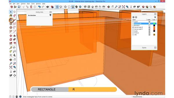 Forming the internal door openings: SketchUp for Architecture: Fundamentals