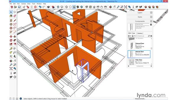 Loading and adding the internal door components: SketchUp for Architecture: Fundamentals
