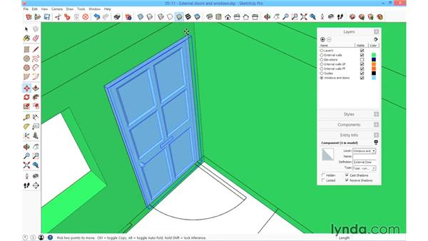 Adding the external doors and windows: SketchUp for Architecture: Fundamentals