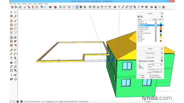 Adding the facia and the soffit: SketchUp for Architecture: Fundamentals