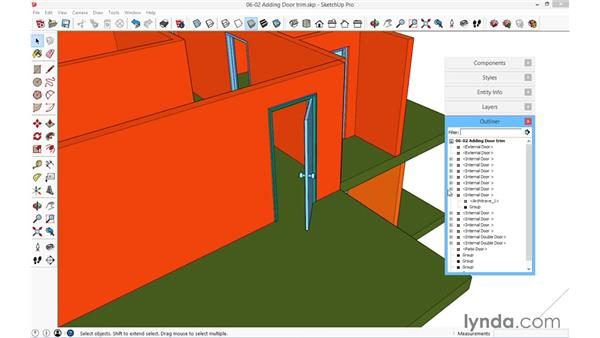 Adding door trim: SketchUp for Architecture: Fundamentals