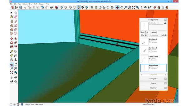 Adding wall and ceiling trim: SketchUp for Architecture: Fundamentals