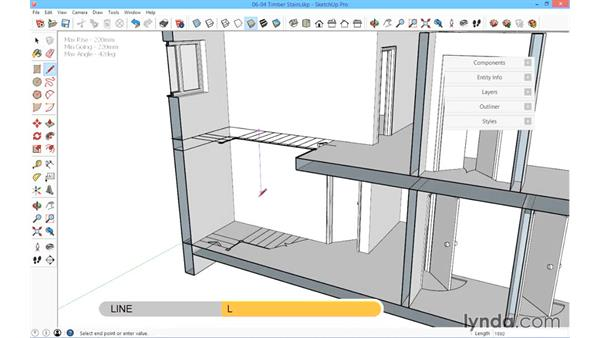 Timber stairs: SketchUp for Architecture: Fundamentals