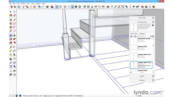 Stringers and newel posts: SketchUp for Architecture: Fundamentals