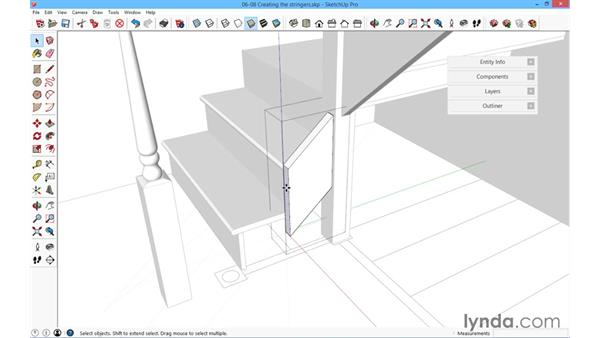 Creating the stringers: SketchUp for Architecture: Fundamentals