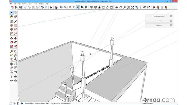 Adding the landing handrail: SketchUp for Architecture: Fundamentals
